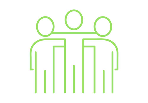green people - three outlines of people middle person has its arms around the other two