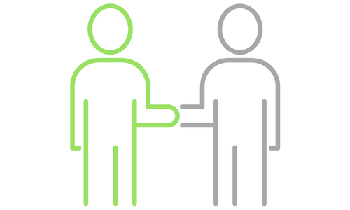 green and grey outline of two people shaking hands