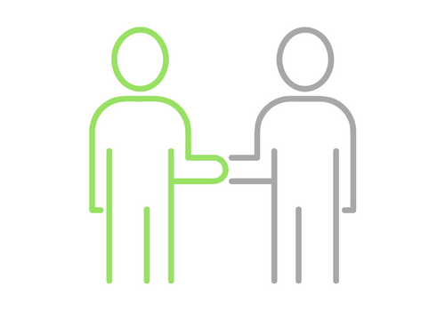 handshake business agreement two people green grey