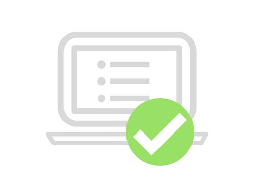 computer tracking asset green tick