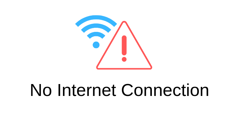 No internet connection text and wifi logo