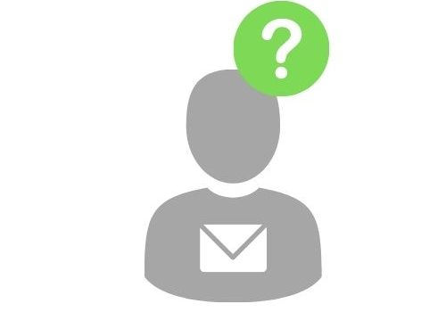 Grey symbol of a person with white email symbol on chest and question mark inside a green circle beside head to represent thinking about fraudulent emails